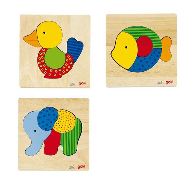 Lesena sestavljanka - Slon, riba, račka