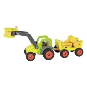 Traktor z nakladačem in prikolico