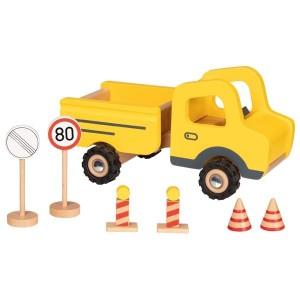 Gradbeni tovornjak s prometnimi znaki