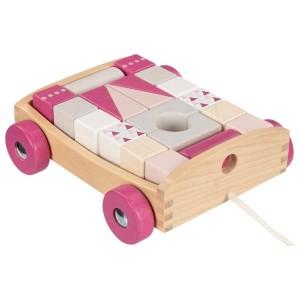 Voziček s kockami - Roza